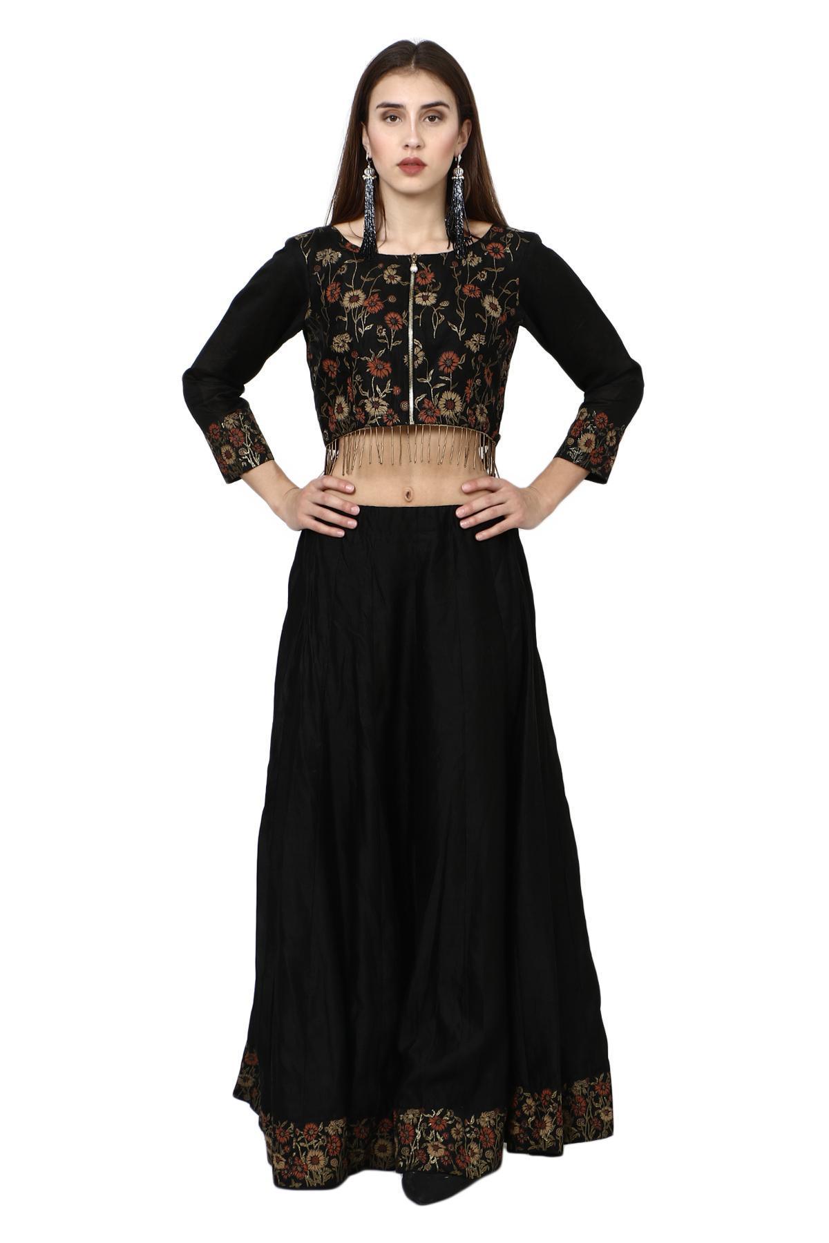9809c8ce0dd632 Aaina by aditi ethnic Floral Print Black Crop Top Skirt Black ethnic-crop- top ...