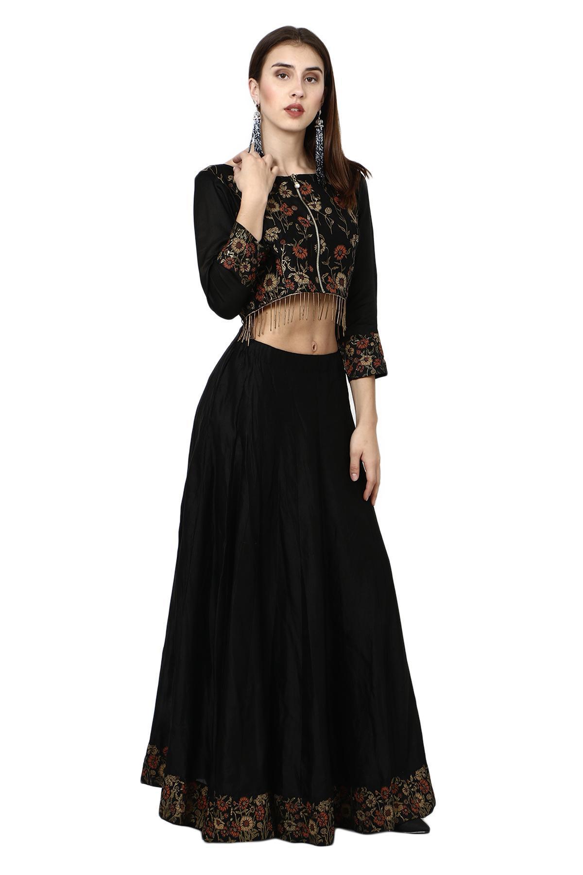 4a823f440b0254 ... Aaina by aditi ethnic Floral Print Black Crop Top Skirt Black ethnic- crop-top ...
