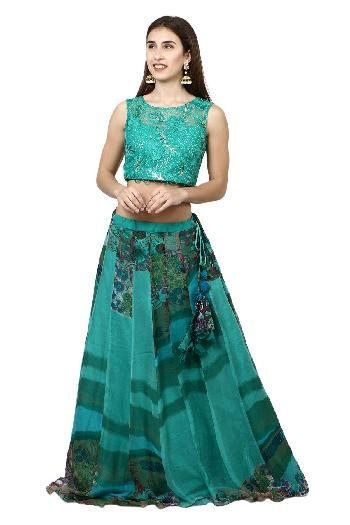 8b0cb231fb7470 Aaina by aditi ethnic Turquoise Green Crop Top Skirt Turquoise Green ethnic- crop-top
