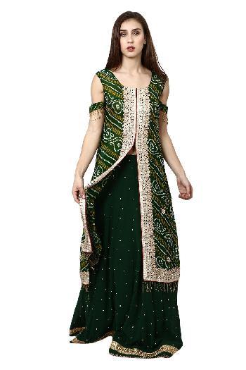 805160aabf0529 Aaina by aditi ethnic Green Jacket Lehenga Green ethnic-cape-set for rent