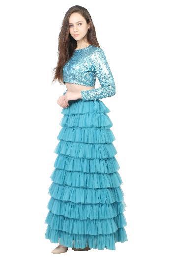 a4c970bdb097ad Alka Bharti ethnic Ruffle Crop Top Skirt Maya Blue ethnic-crop-top-skirt