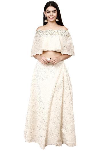 bce191f8539ba0 Liza Narula ethnic Off-Shoulder Cape Crop Top Skirt Off-White ethnic-crop