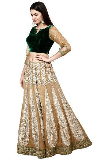 e80ae8e97e2e59 J Kherwa ethnic Velvet Crop Top With Gold Skirt Bottle Green & Gold ethnic- crop