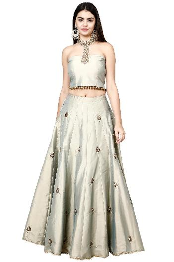 8830d0ac03c86f Violet By Preeti Singhal ethnic The Necklace Crop Top Skirt Grey with a  hint of gold